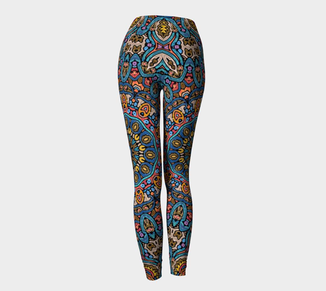 Oriental Watercolor Mandala Blue Orange leggings preview #4