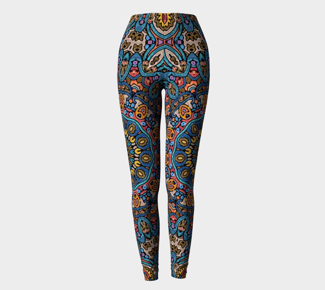 Oriental Watercolor Mandala Blue Orange leggings preview #2