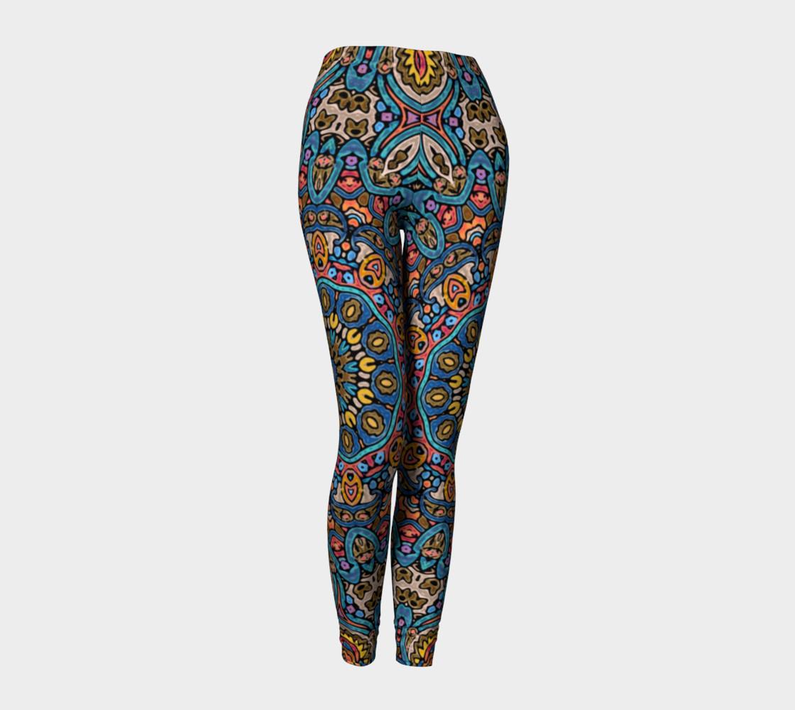 Oriental Watercolor Mandala Blue Orange leggings preview #1