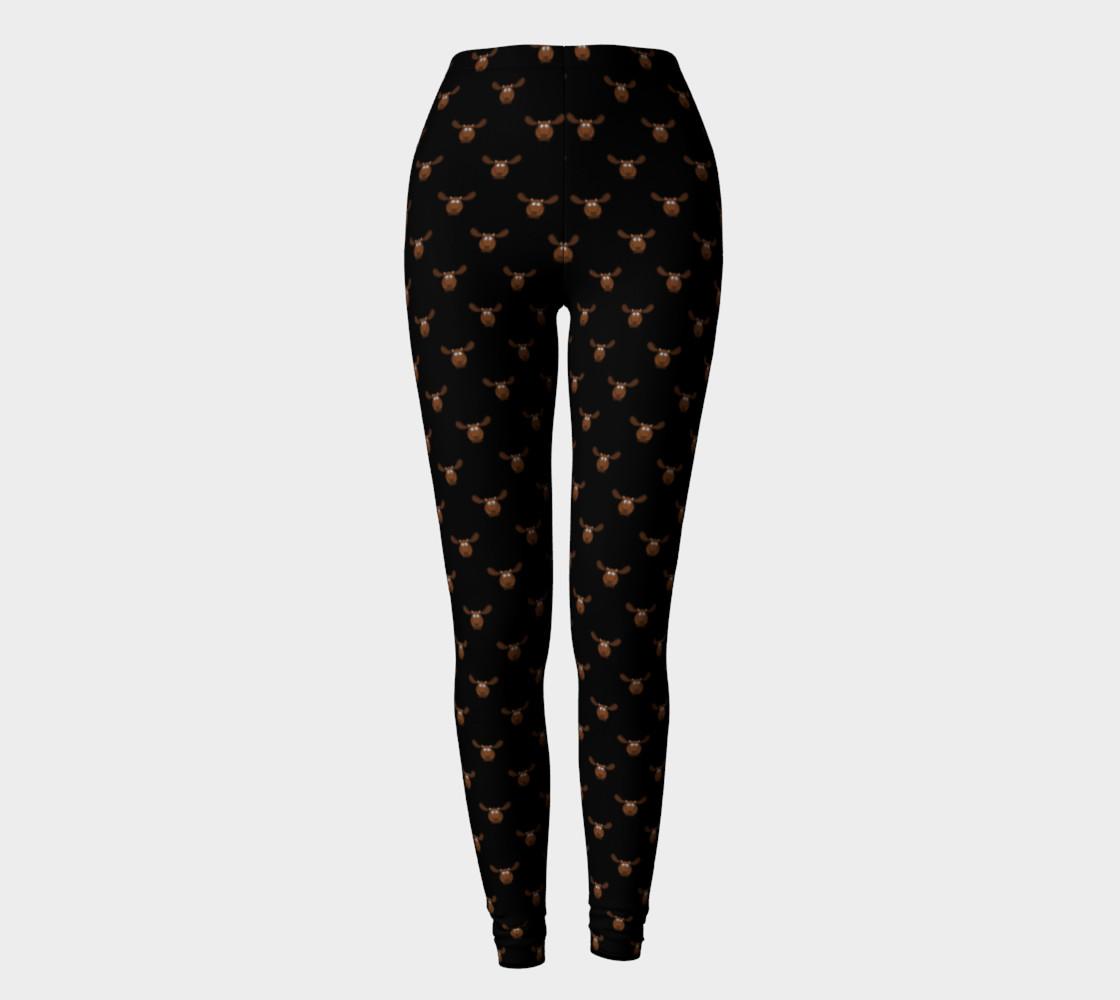 Moose Pattern-Dark Chocolate Leggings preview #2