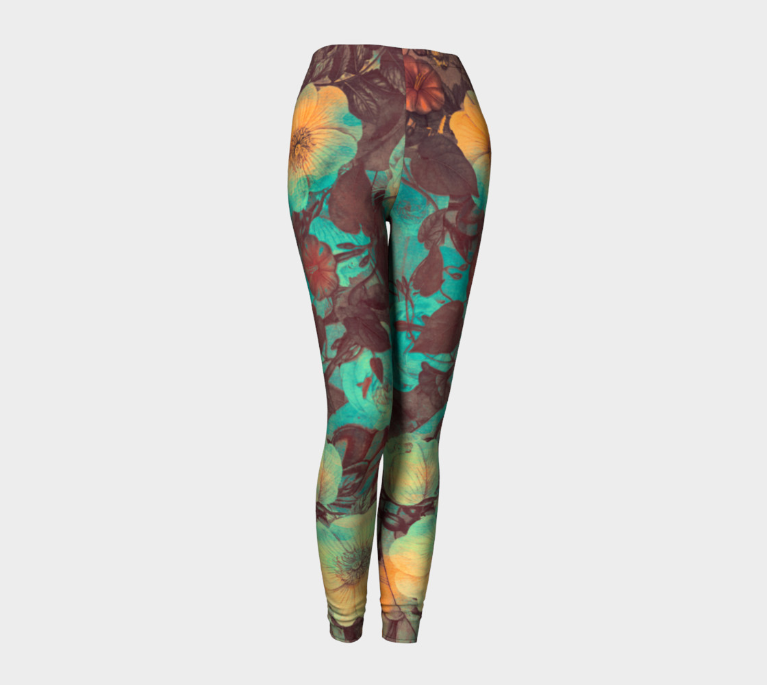 Aperçu de leggings green yellow flowers #1