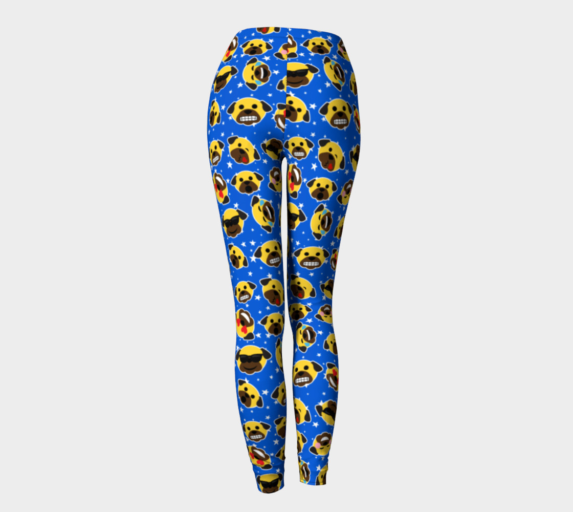 Aperçu de Pug Emojis Electric Blue Leggings #4