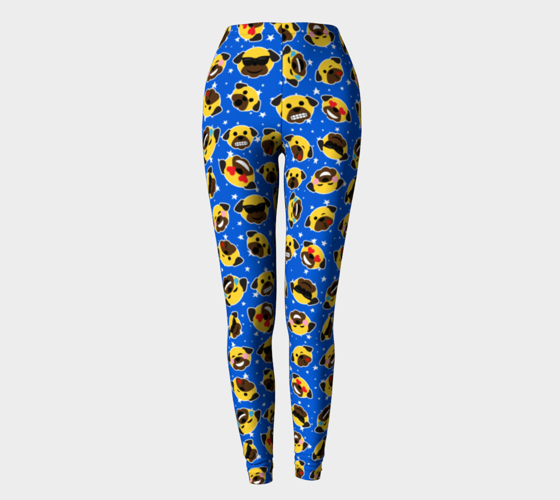 Aperçu de Pug Emojis Electric Blue Leggings #2
