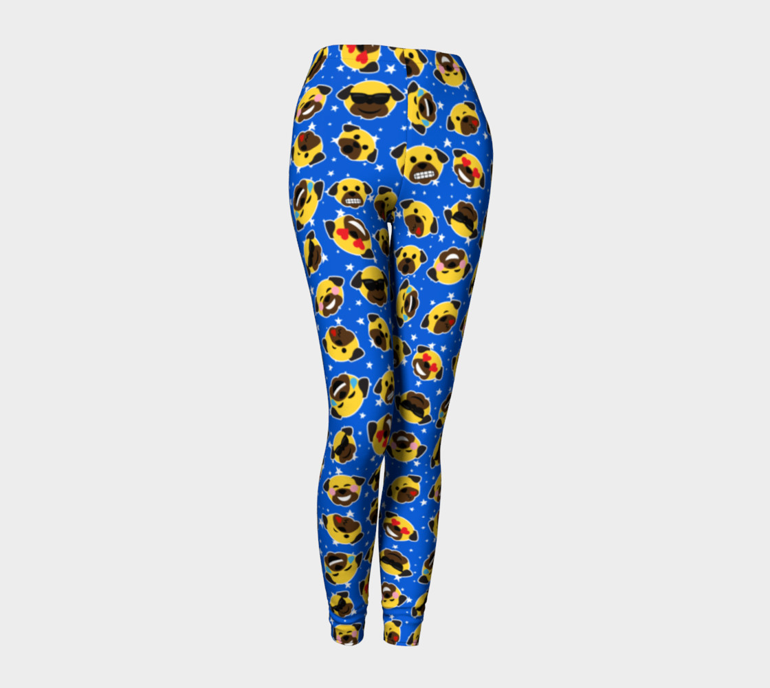 Aperçu de Pug Emojis Electric Blue Leggings #1