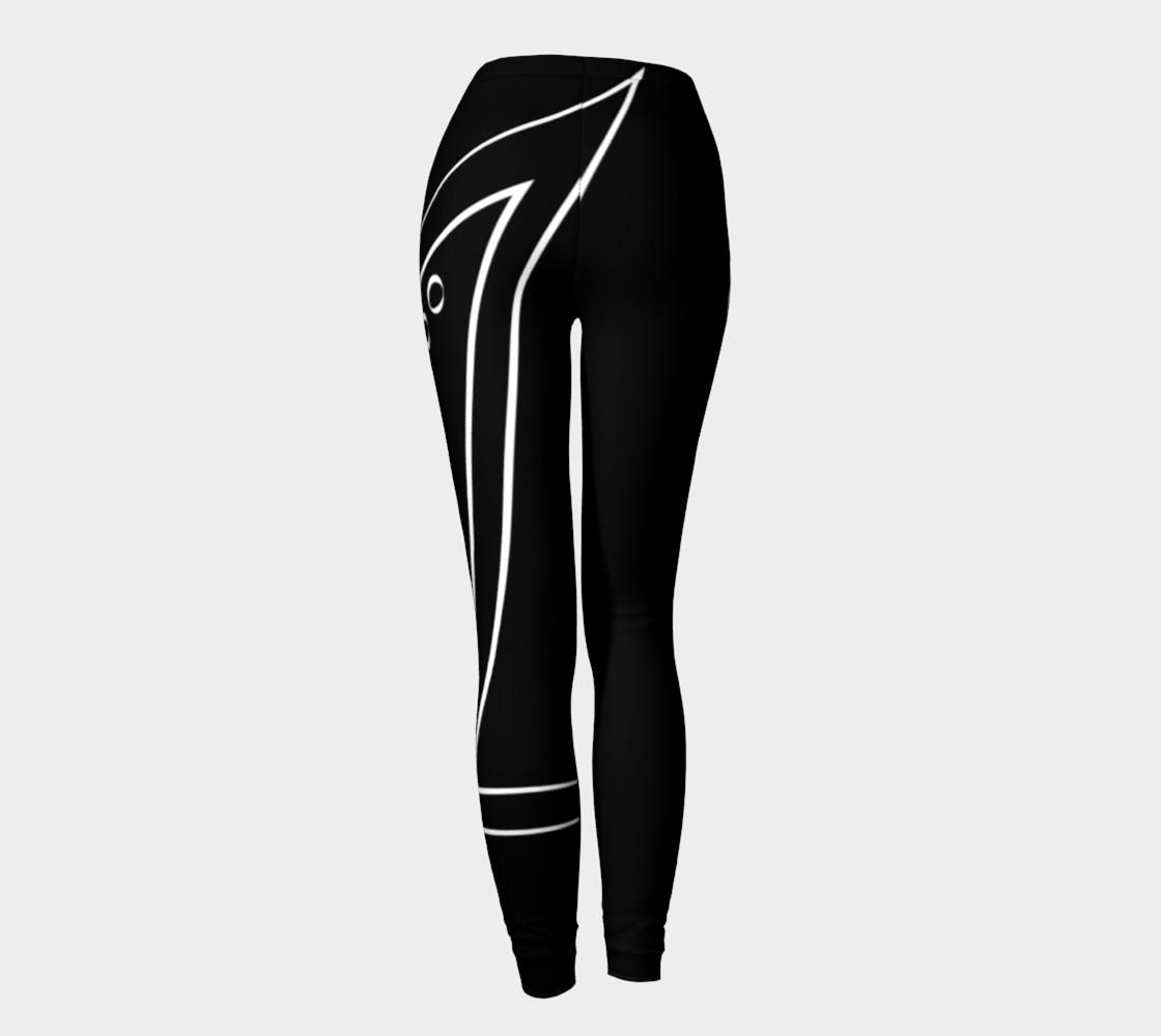 black and white line design leggings preview #4