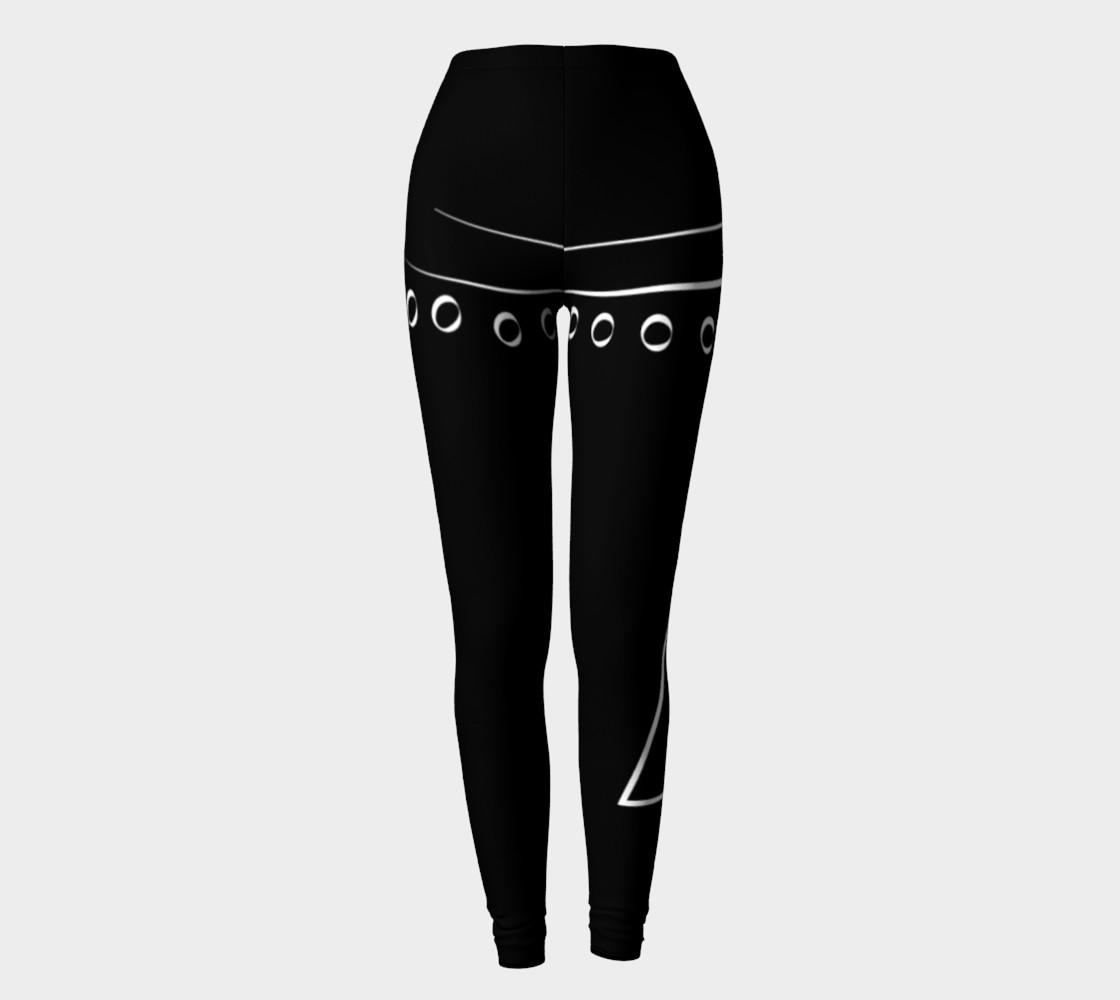 black and white line design leggings preview #2