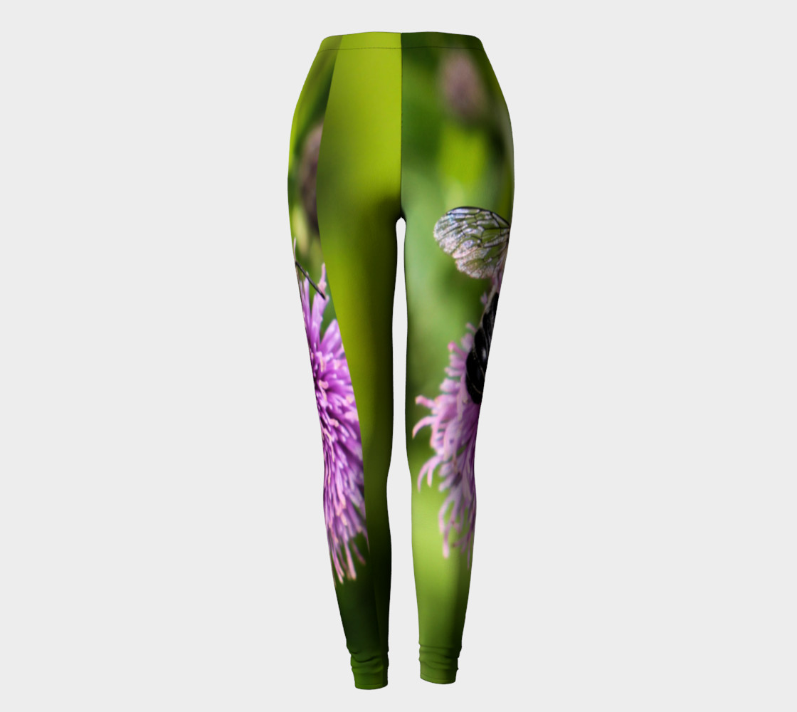A Bee on a Purple Flower Leggings preview #2
