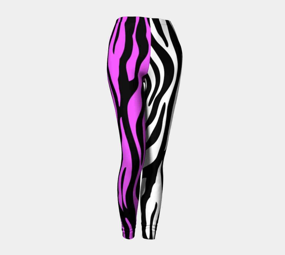 Zebra Stripes Pattern - Trend Colors Black Pink White leggings preview #1