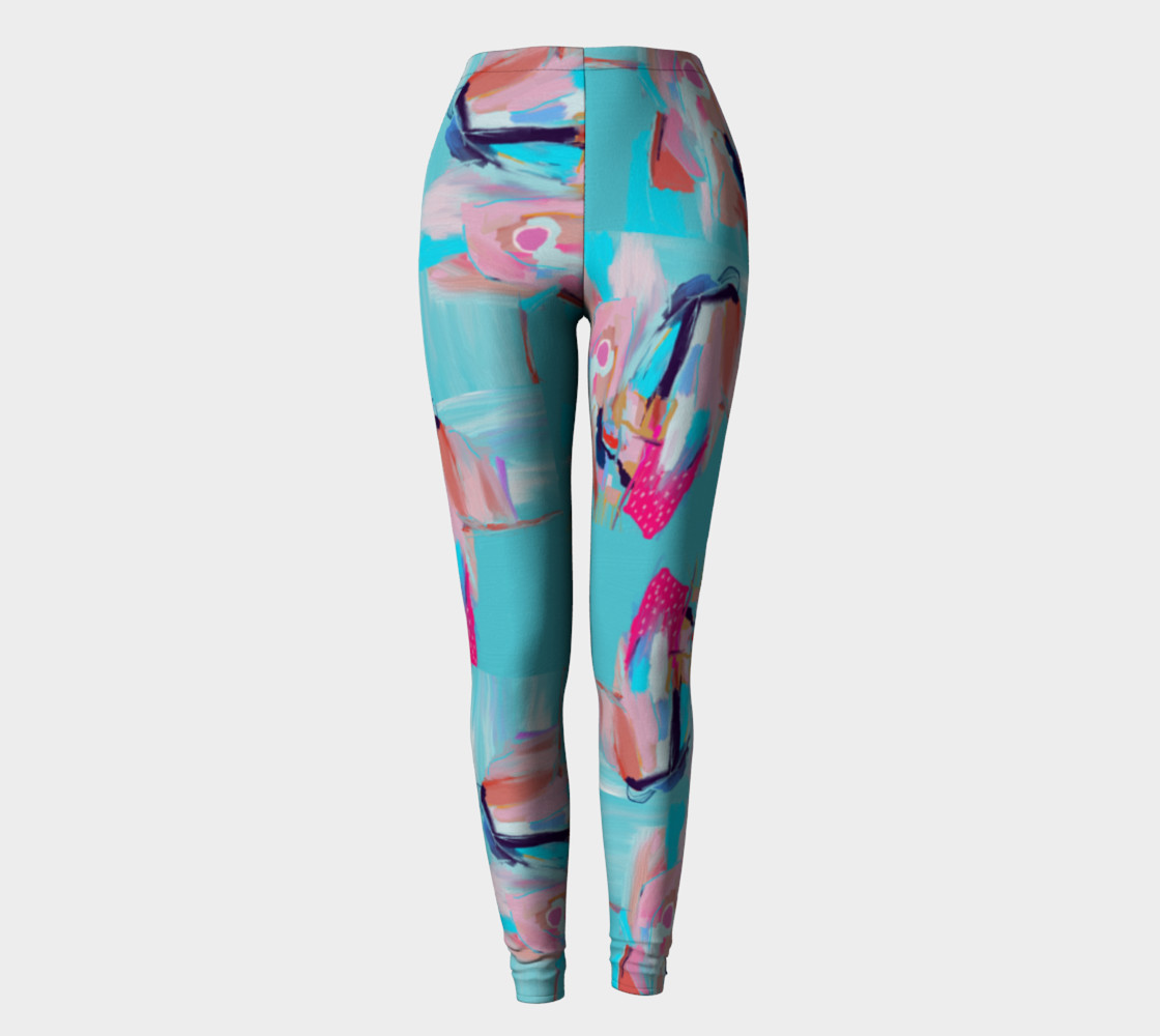 Blue Abstract Leggings Miniature #3
