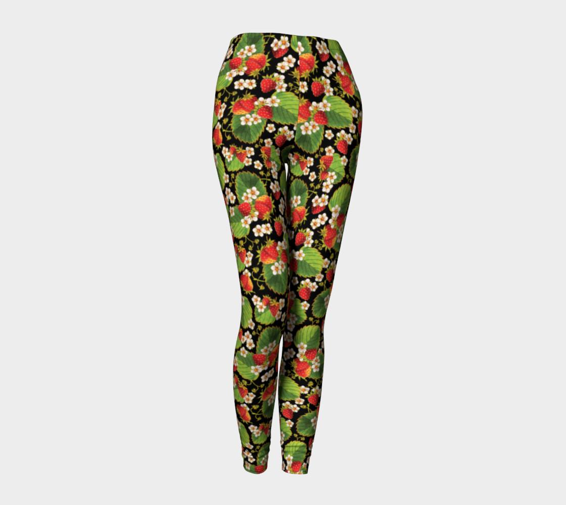 Aperçu de Strawberries on Black Ankle Leggings #1