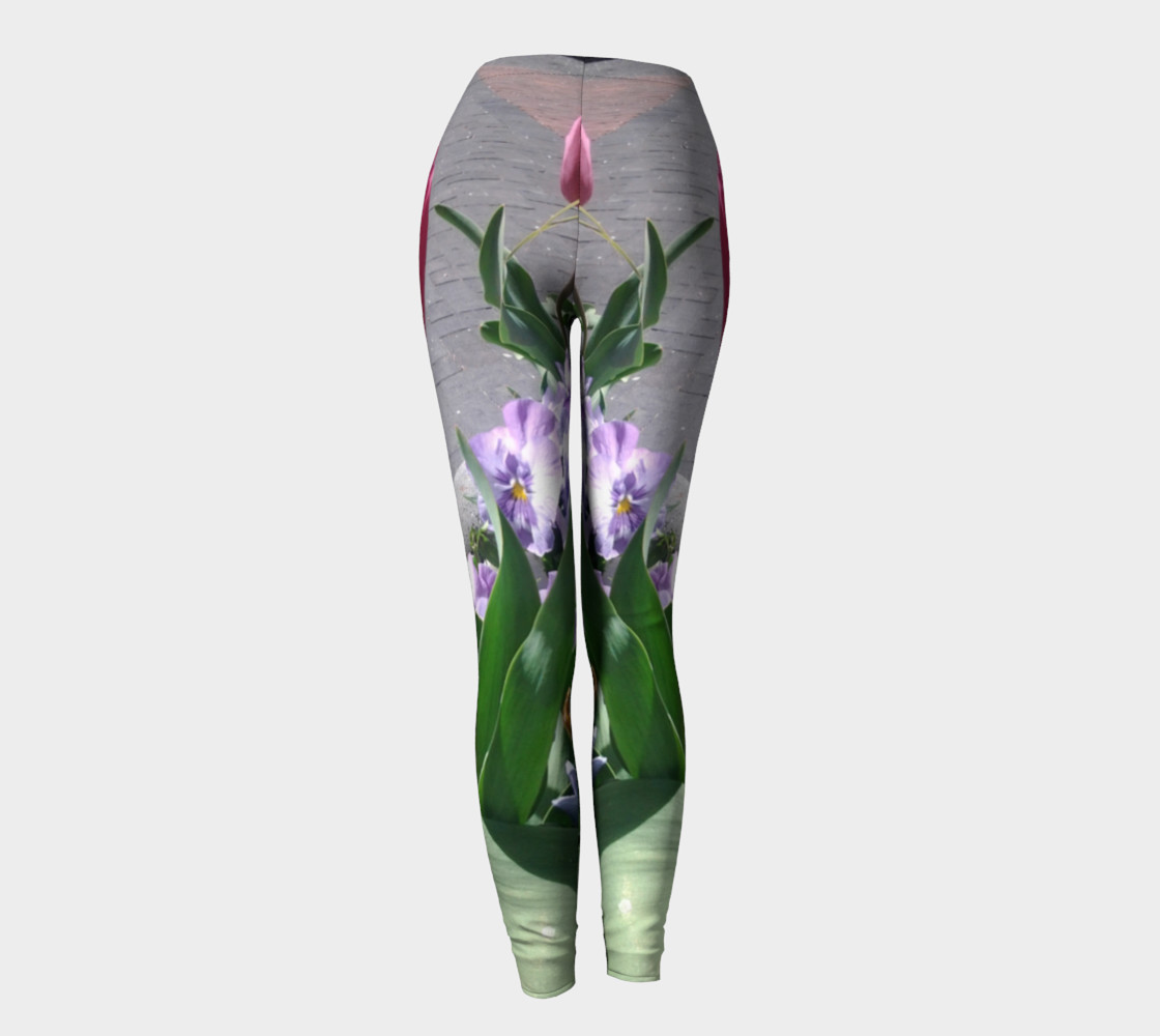 Tulip and Pansy flowers photography leggings preview #4