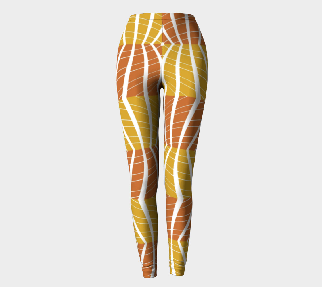 Geometric Pumpkin Fall colors leggings preview #2