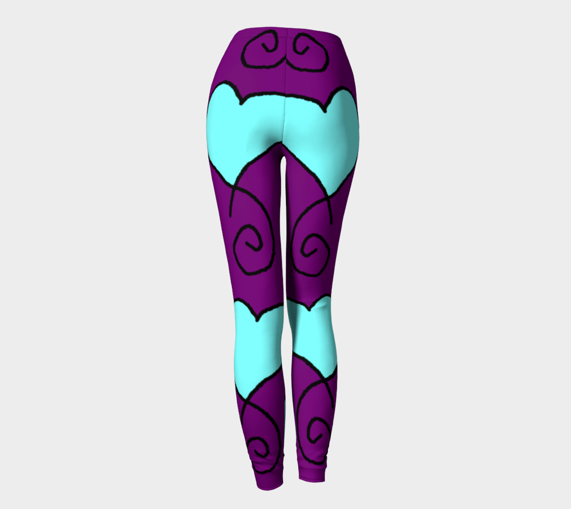 S9 Purple with Light Blue Hearts Leggings TV music funny preview #4