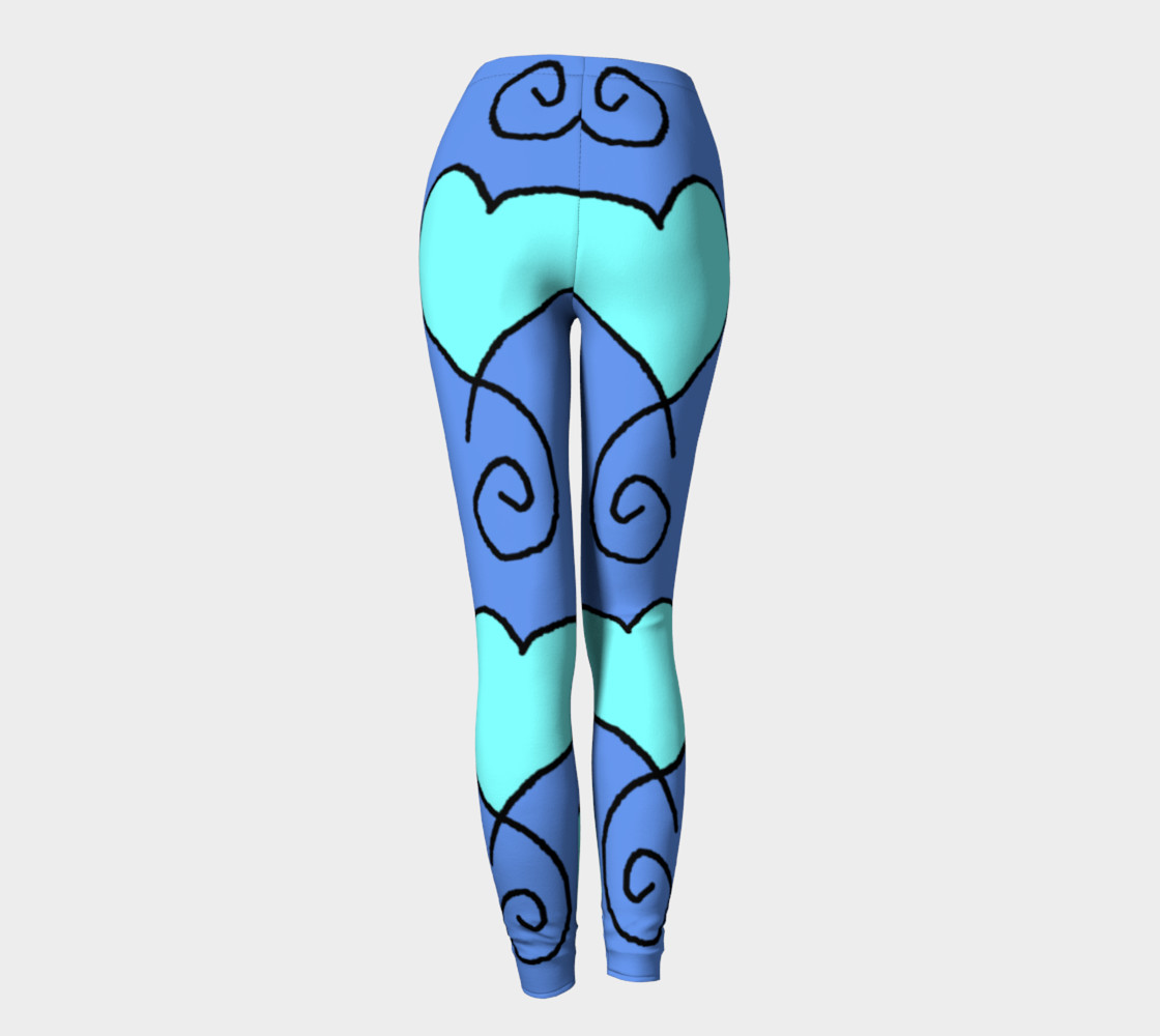 S10 Cornflower with Light Blue Hearts Leggings TV music funny preview #4