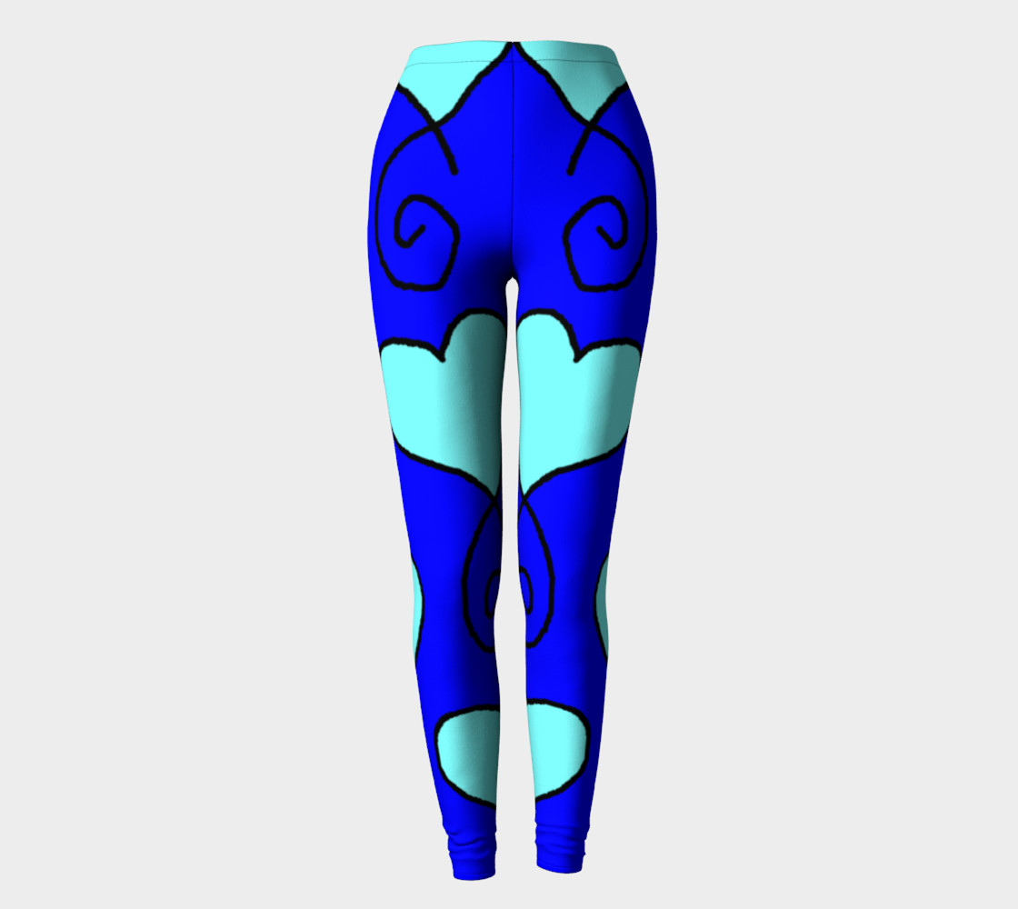 S11 Blue with Light Blue Hearts Leggings TV music funny preview #2