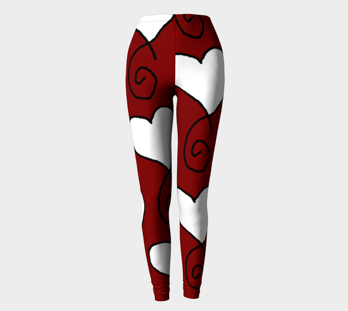 Maroon White Hearts Leggings preview #2