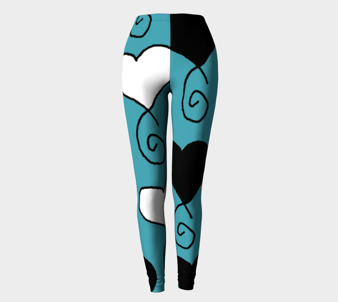 Turquoise with Black and White Hearts Leggings preview #2