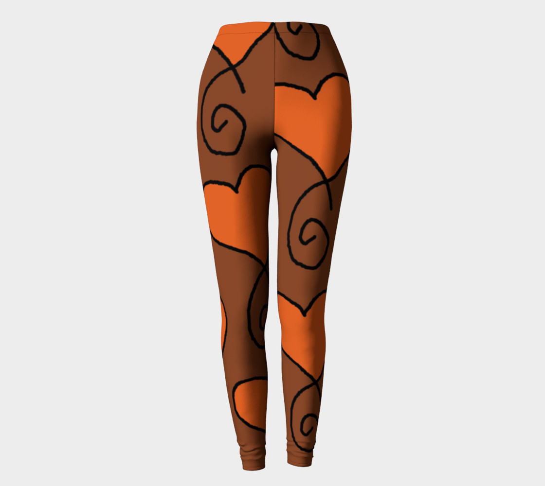 Brown with Orange Hearts Leggings preview #2