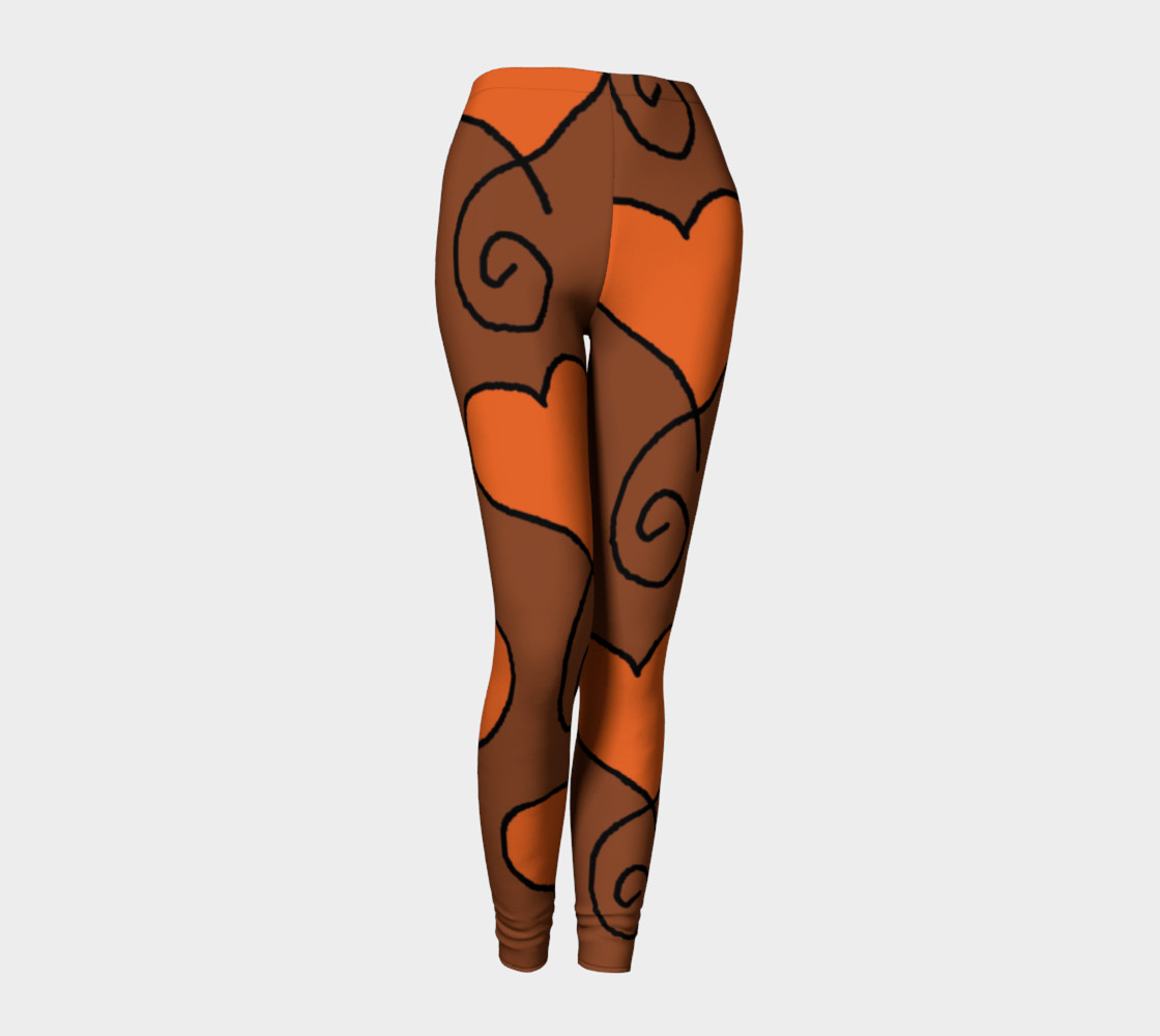 Brown with Orange Hearts Leggings preview #1