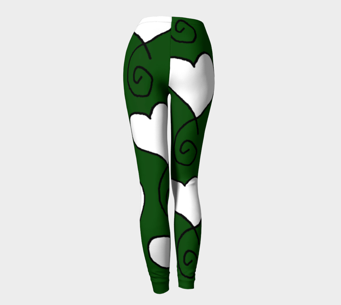 Hunter Green with White Hearts Leggings preview #4