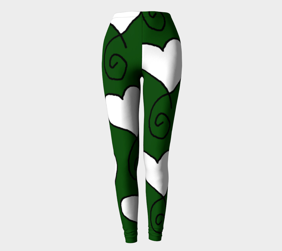 Hunter Green with White Hearts Leggings preview #2