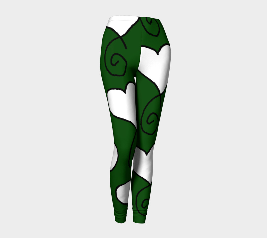 Hunter Green with White Hearts Leggings preview #1