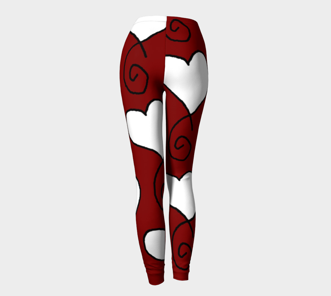 Dark Red with White Hearts Leggings preview #4