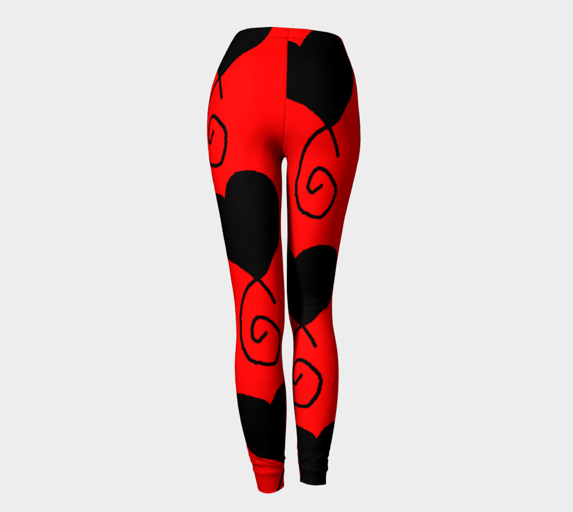 Red with Black and White Hearts Leggings preview #4