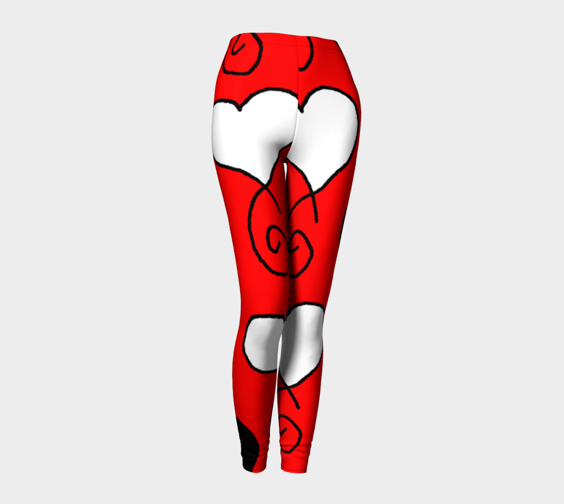 Red with Black and White Hearts Leggings preview #1
