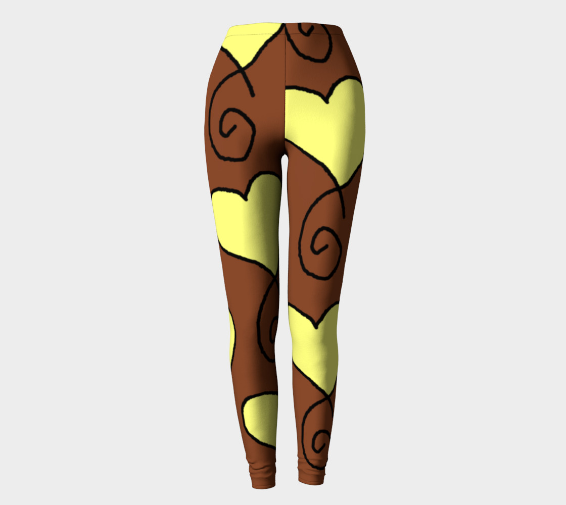 Brown With Light Yellow Hearts Leggings preview #2