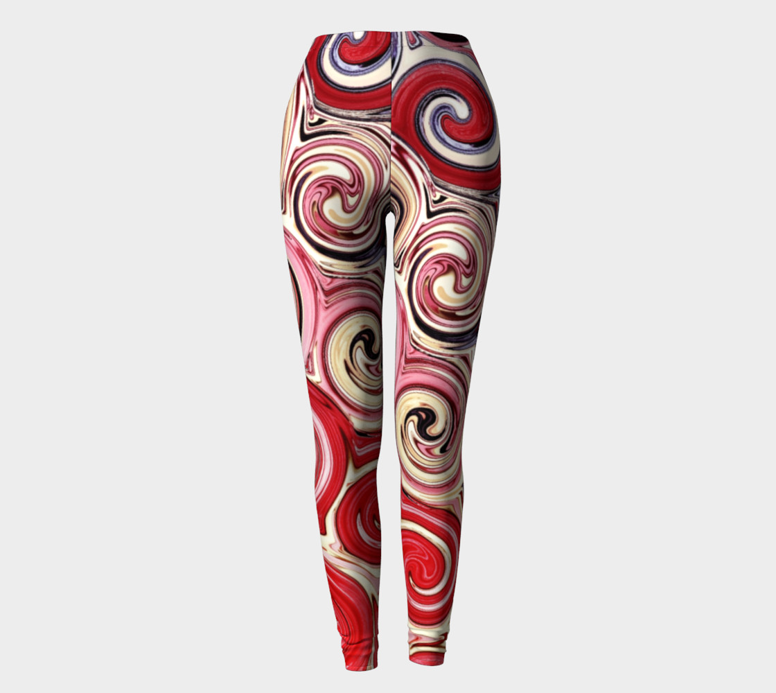 Swirl Me Pretty Pink Red Blue Leggings preview #2