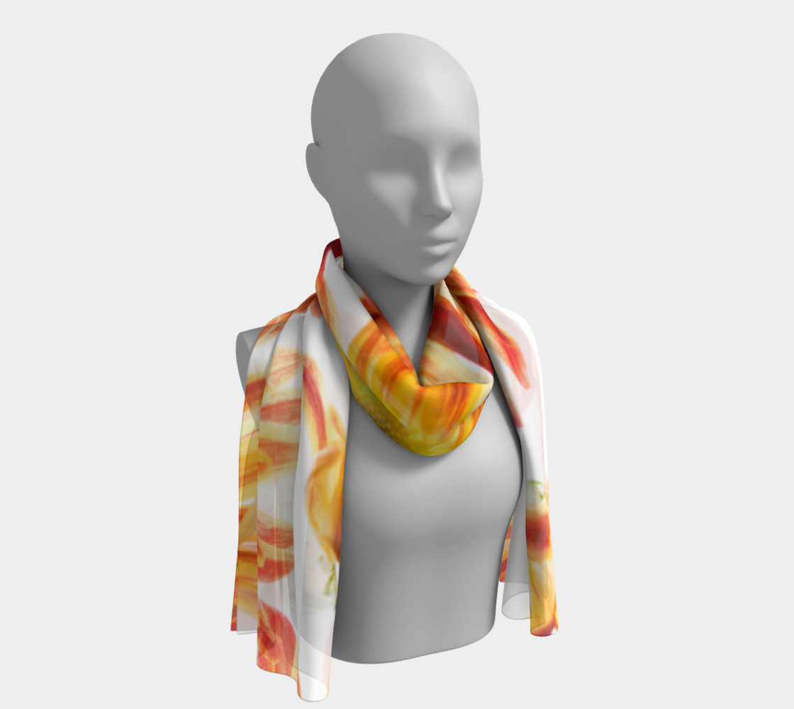 orange flowers long scarf preview #1