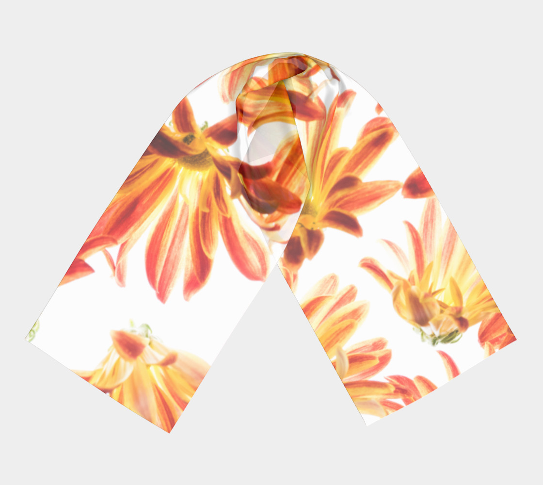 orange flowers long scarf preview #3