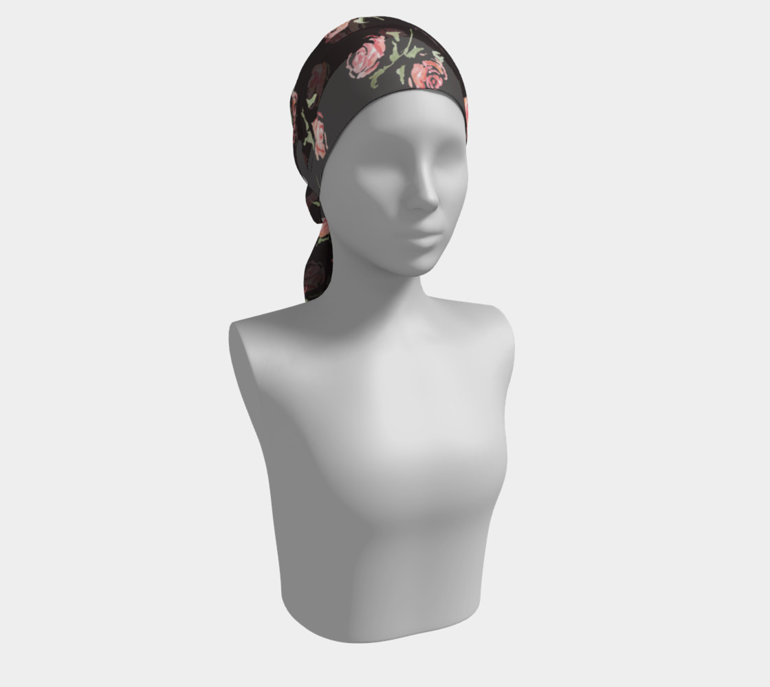 floral scarf black and pink rose preview #2