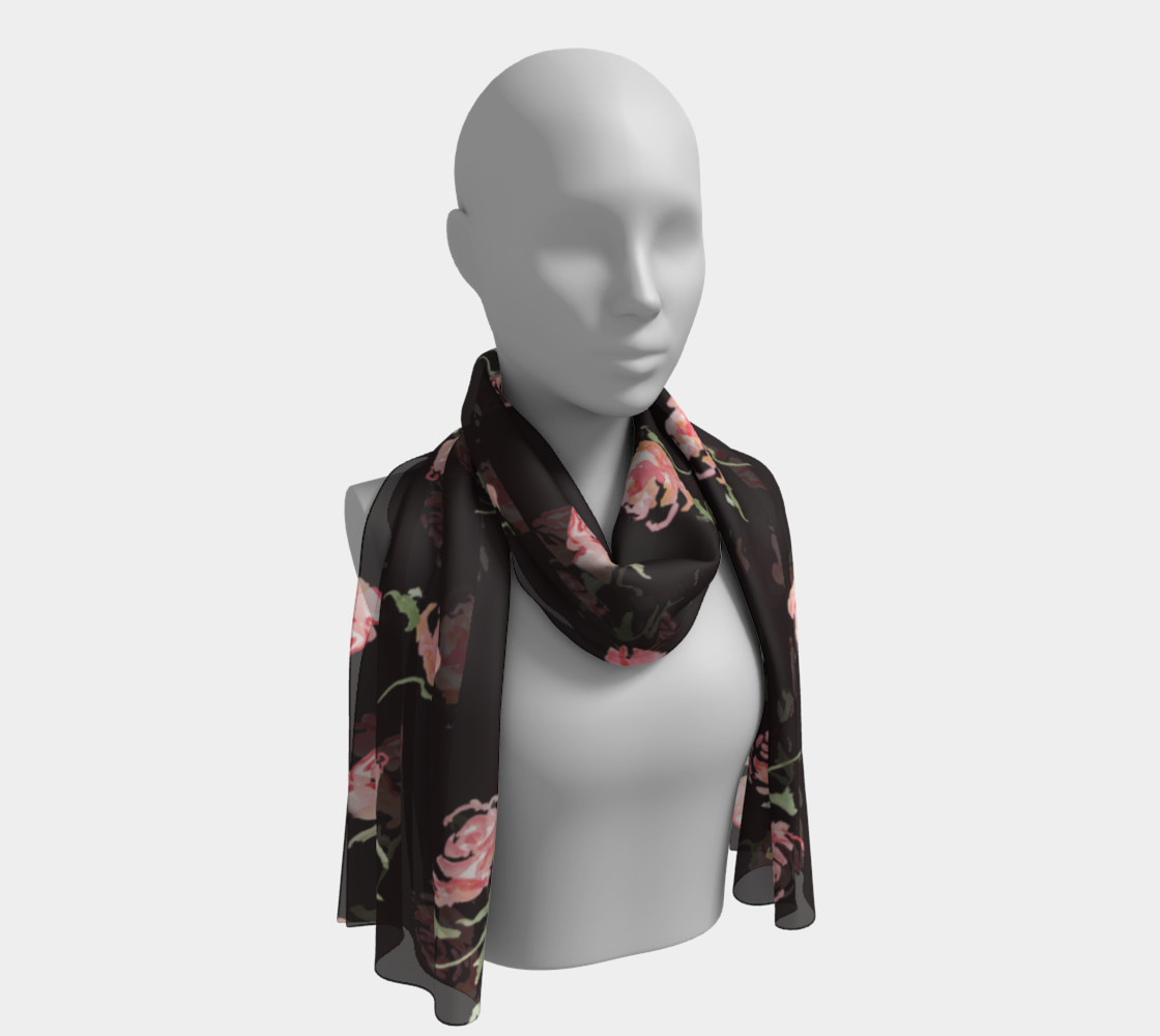 floral scarf black and pink rose preview #1