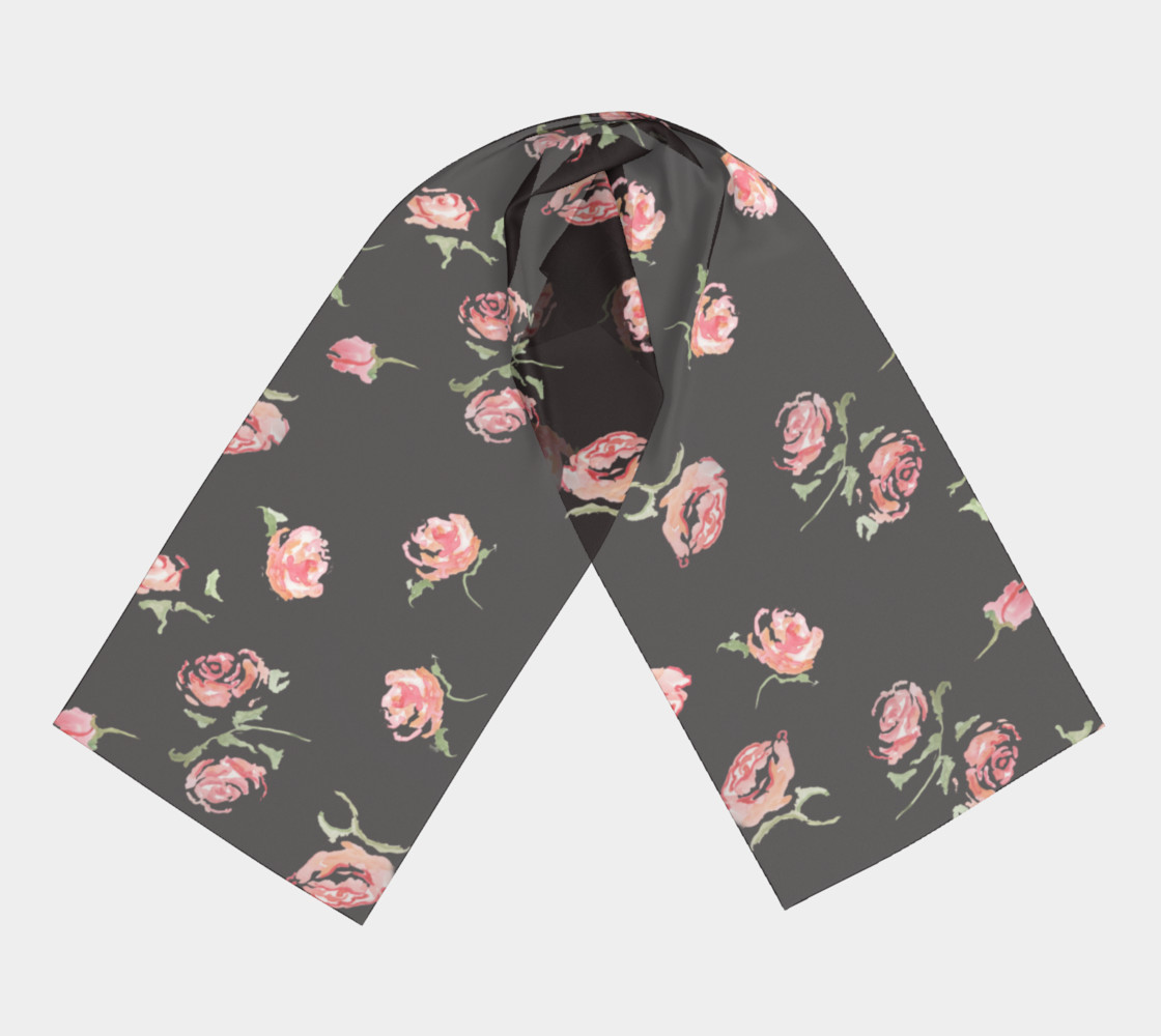 floral scarf black and pink rose preview #3