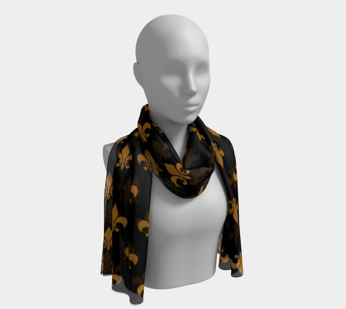 Matte Antique Gold Fleur de Lis on Black preview #1