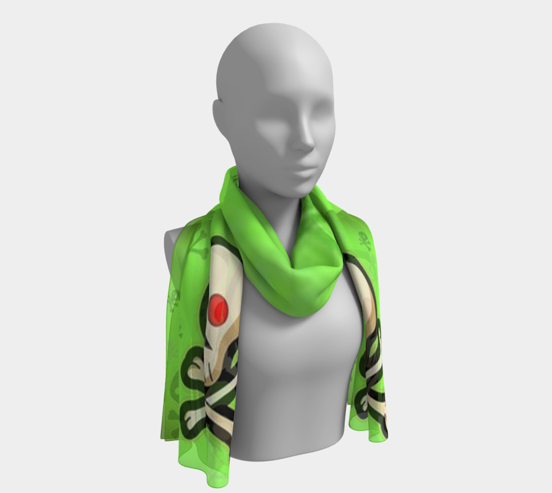 Cartoon Skull On Green Long Scarf preview #1