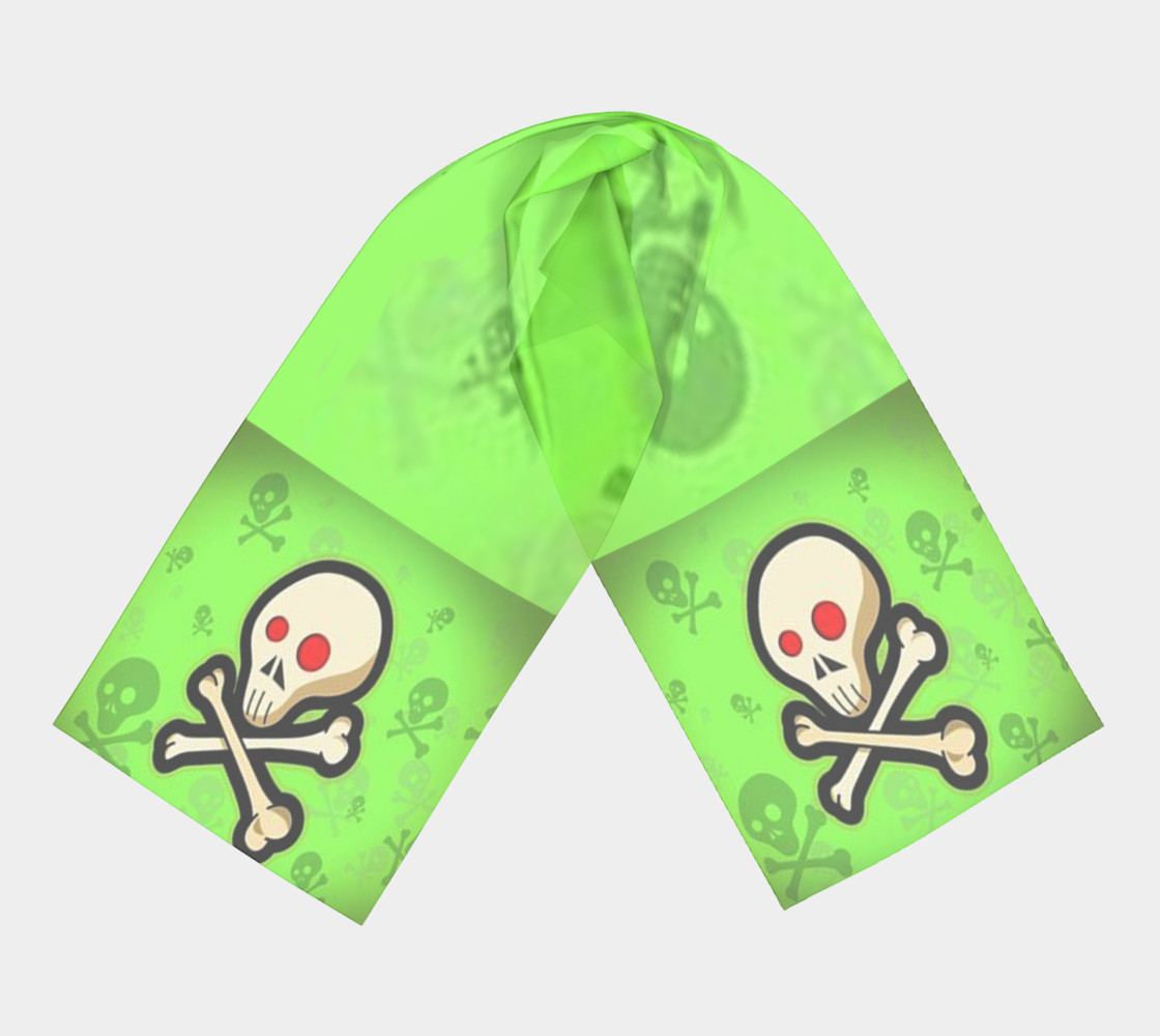 Cartoon Skull On Green Long Scarf preview #3