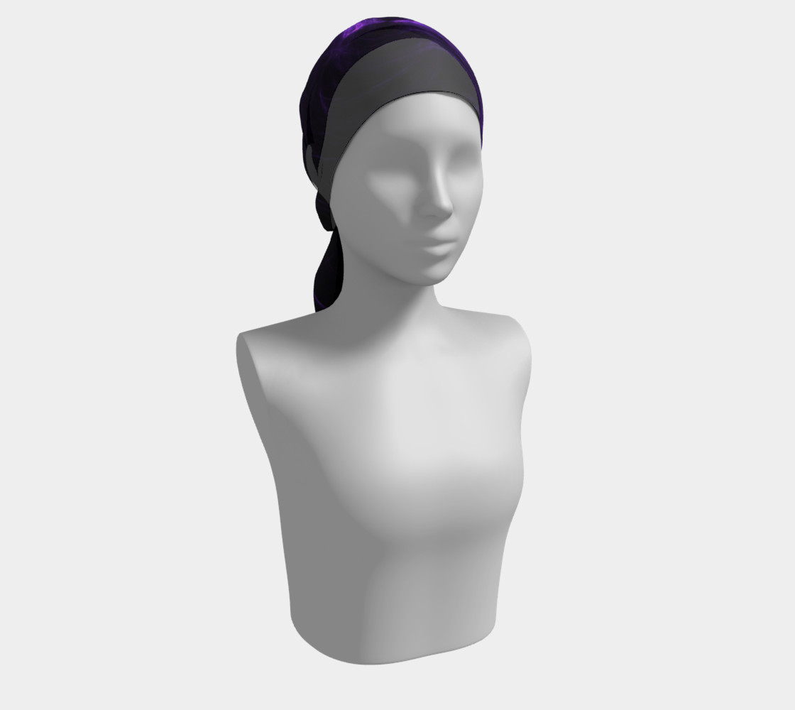 Purple Fractal on Black Long Scarf preview #2