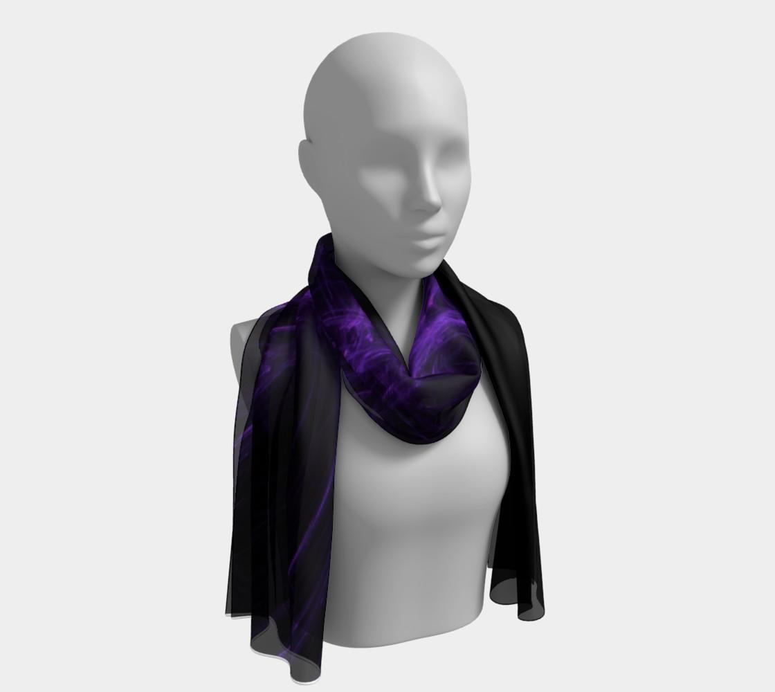 Purple Fractal on Black Long Scarf preview #1