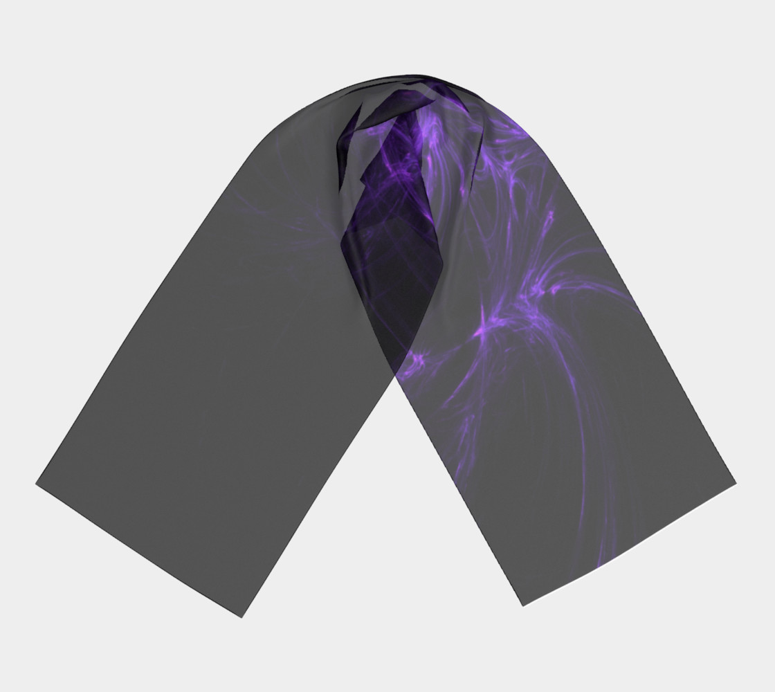 Purple Fractal on Black Long Scarf preview #3