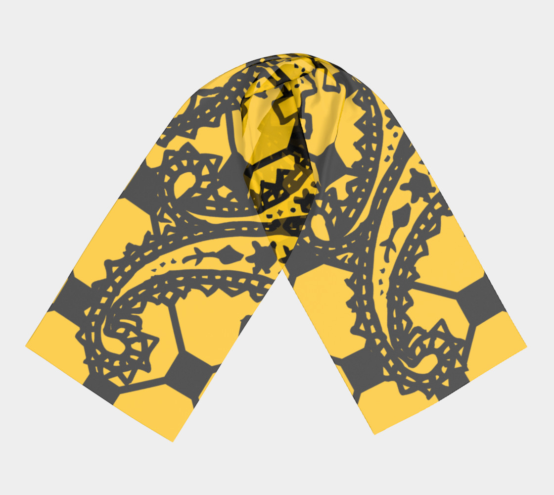Aperçu de Yellow Grid Paisley Pattern Minton Black Yellow Tile Pattern Paisley Henna Art #3