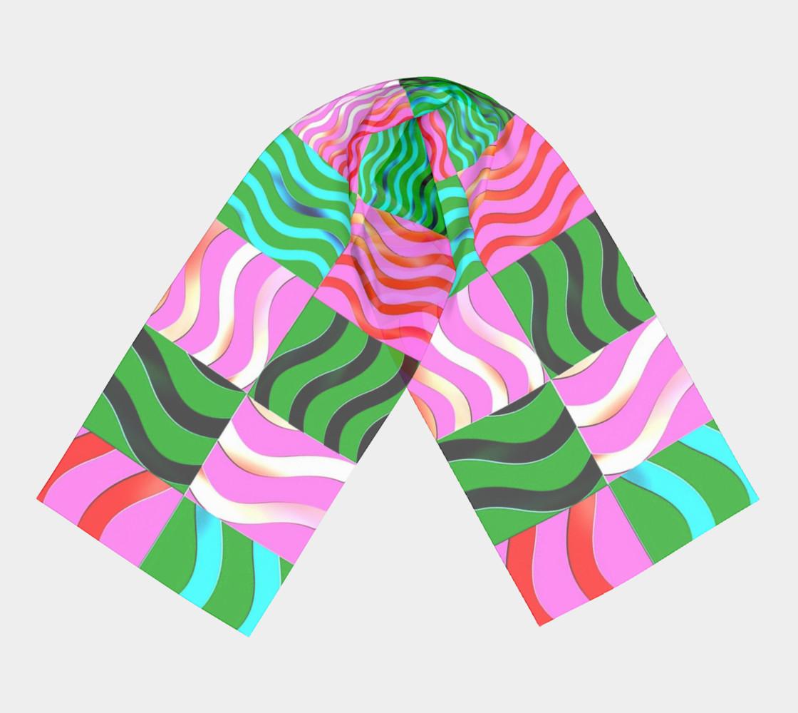Aperçu de Multicolored Blocks and Waves Scarf 1 #3