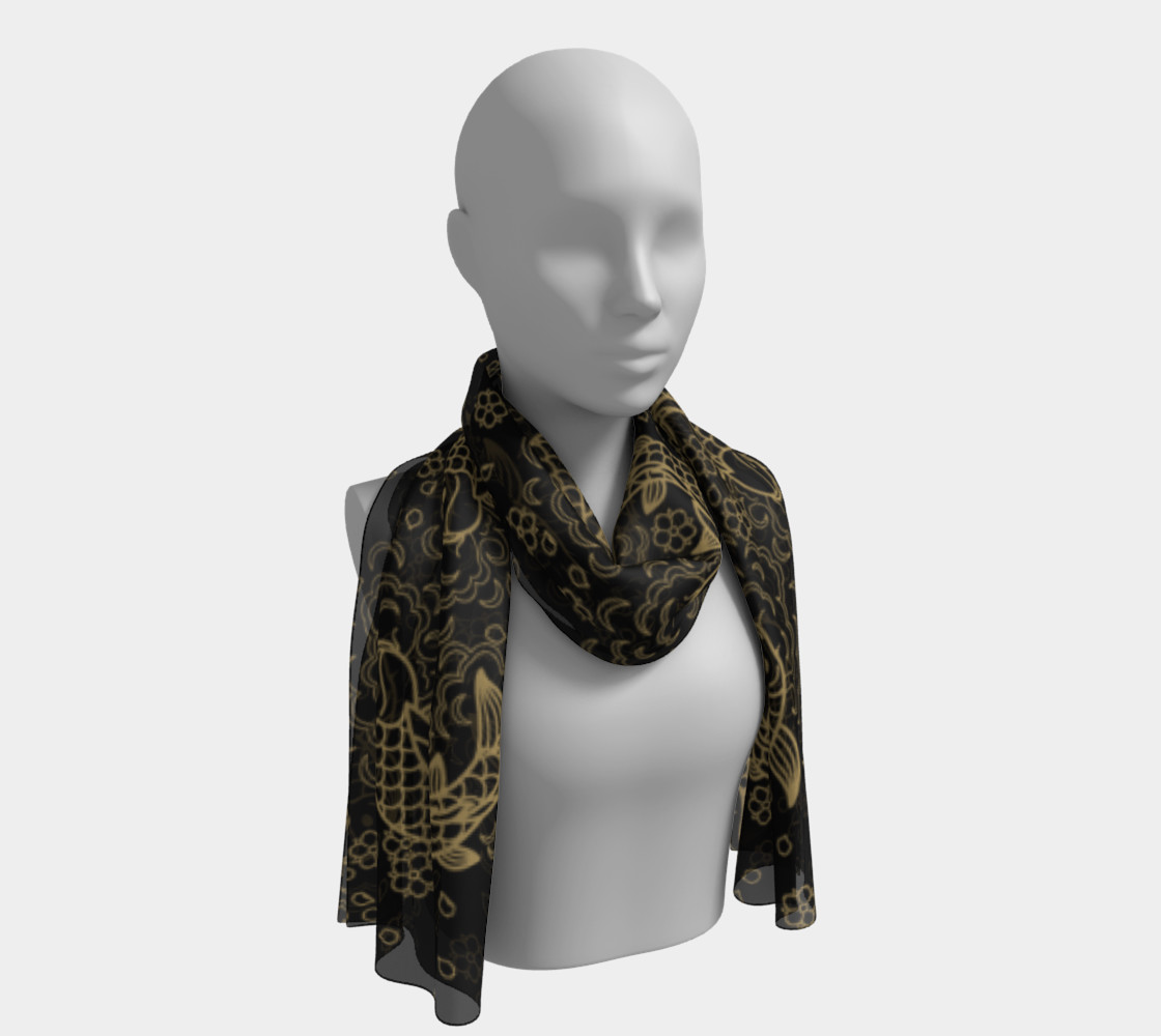 Gold Koi and Flowers on Black Background Long Scarf preview #1