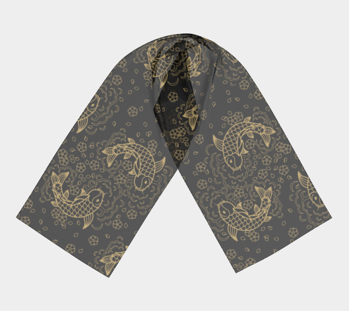 Gold Koi and Flowers on Black Background Long Scarf preview #3