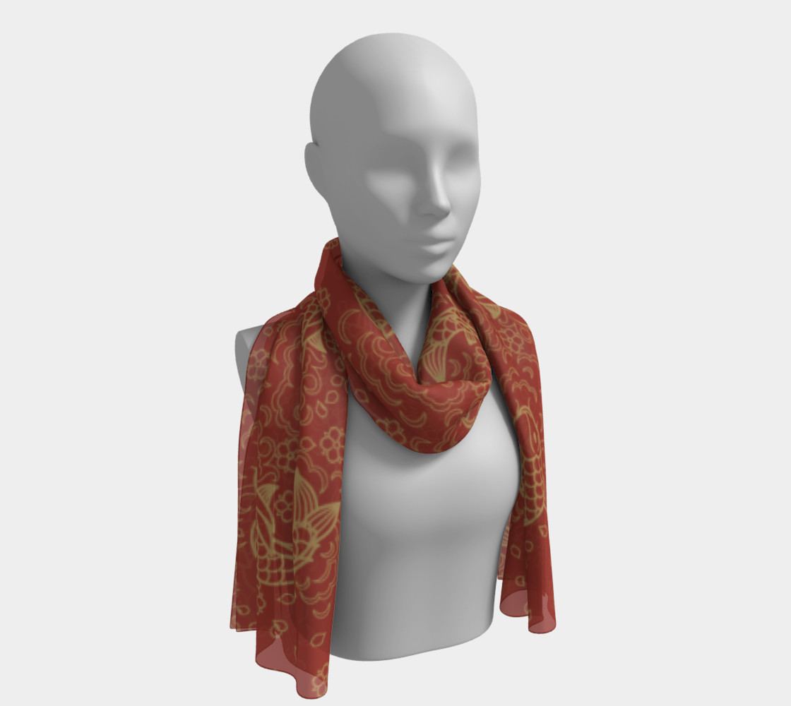 Gold Koi and Flowers on Red Background Long Scarf preview #1