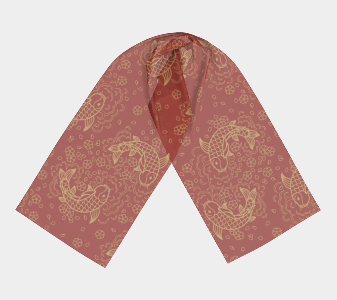 Gold Koi and Flowers on Red Background Long Scarf preview #3