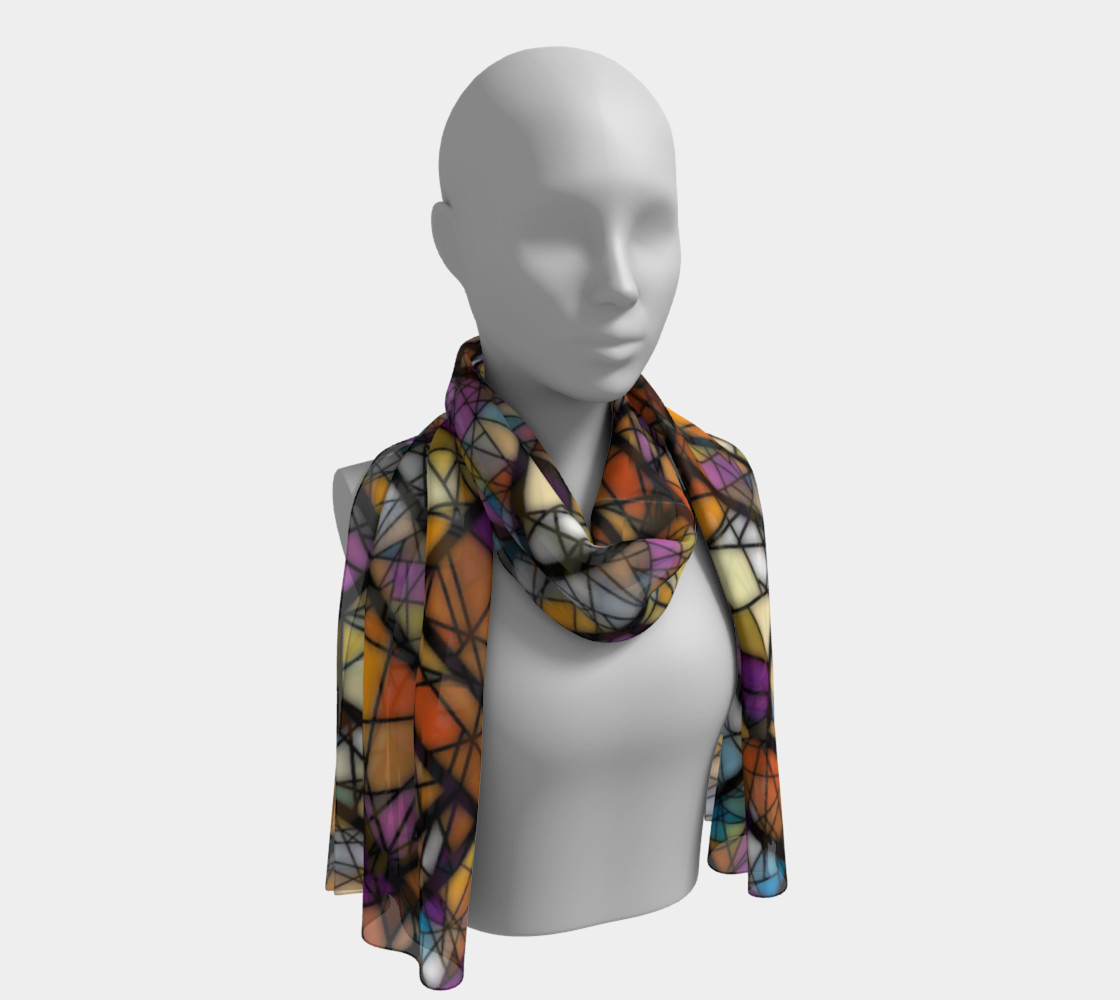 Quadrangles & Triangles Mosaic Pattern Long Scarf preview #1