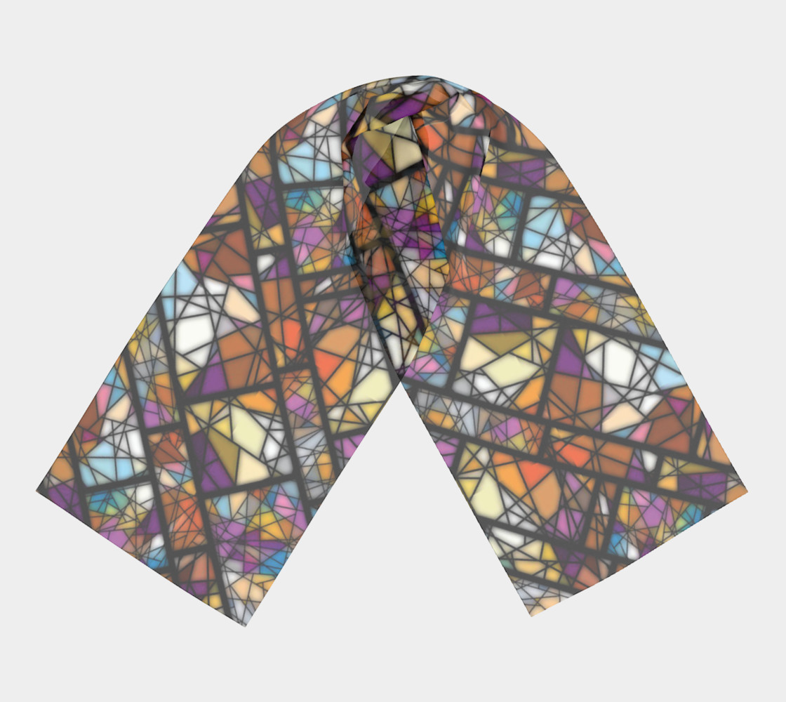 Quadrangles & Triangles Mosaic Pattern Long Scarf preview #3